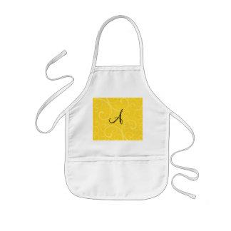 Monogram yellow swirls aprons
