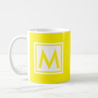 Monogram Yellow Trendy Simple Colour Square Custom Coffee Mug