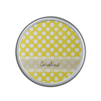 Monogram Yellow White Trendy Fun Polka Dot Pattern Bluetooth Speaker