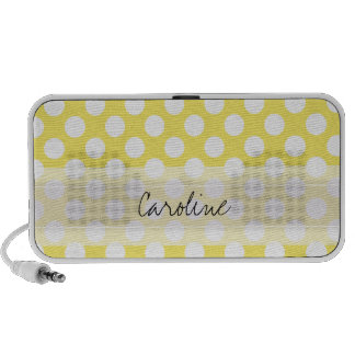 Monogram Yellow White Trendy Fun Polka Dot Pattern iPod Speaker