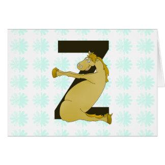 Monogram Z Funny Pony Customized Greeting Cards