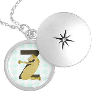 Monogram Z Funny Pony Customized Round Locket Necklace