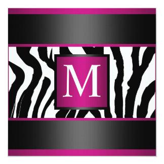 Monogram Zebra Birthday party 13 Cm X 13 Cm Square Invitation Card