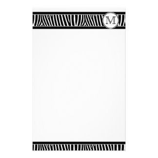 Monogram Zebra Pattern Black White Stationery