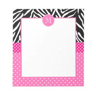Monogram Zebra with Hot Pink Polka Dot Pattern Notepad