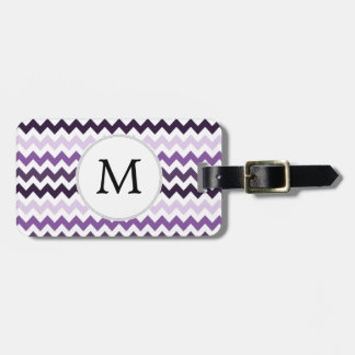Monogram Zigzag Chevron Pattern in Purple Luggage Tag