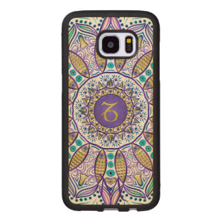 Monogram Zodiac Sign Capricorn Mandala Wood Samsung Galaxy S7 Edge Case