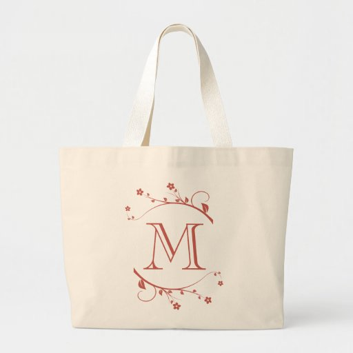 Monograma and adornment of branches in flower canvas bag