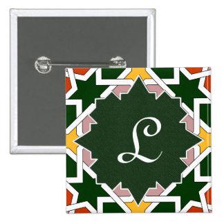 Monograma en mosaico marroquí con letra inicial pin