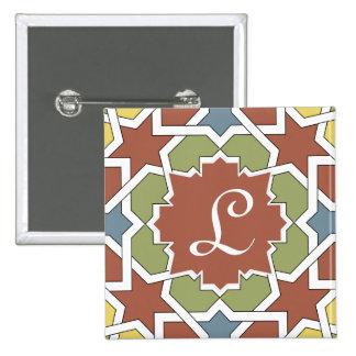 Monograma marroquí Alhambra Mosaico de azulejos Pin