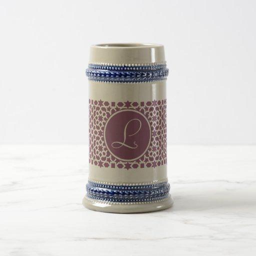 Monograma of geometry in elegant violet coffee mugs