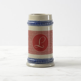 Monograma of red and white elegant geometry in beer stein