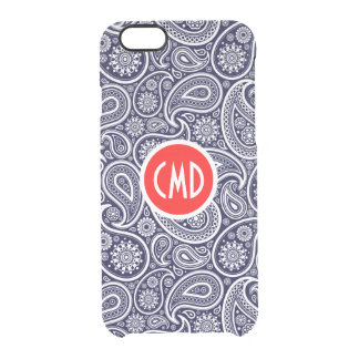 Monograme White On Navy Blue Retro Paisley Pattern Clear iPhone 6/6S Case