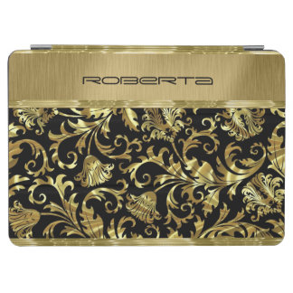 Monogramed Black And Gold Floral Damasks iPad Air Cover