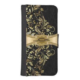 Monogramed Black Damasks & Gold Glitter Lace Desig iPhone SE/5/5s Wallet Case