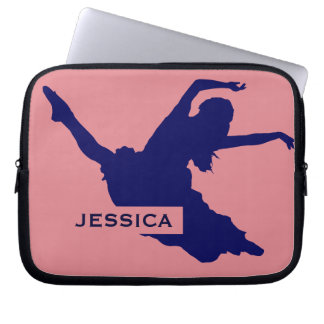 Monogramed Black Dancer Silhouette IllustrationBlu Laptop Sleeve