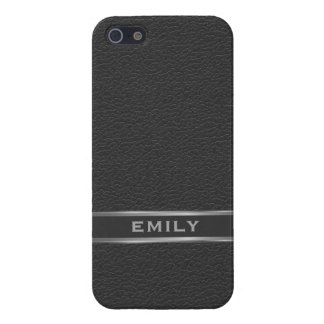Monogramed Black Faux Leather Silver Accents Case For iPhone 5/5S