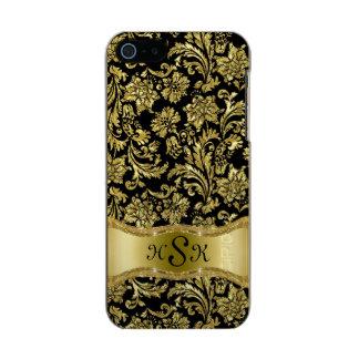 Monogramed Black & Gold Vintage Floral Damasks 2 Incipio Feather® Shine iPhone 5 Case