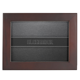 Monogramed Black Leather Look Keepsake Box