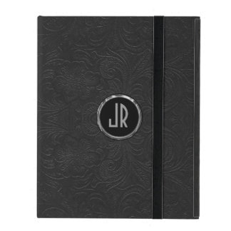 Monogramed Black Suede Leather Floral Design iPad Folio Cover