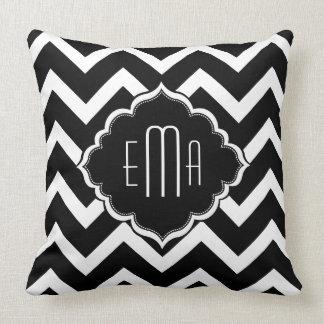 Monogramed Black & White Geometric Zigzag Chevron Throw Pillow