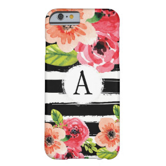 Monogramed Black White Stripes Watercolor Flowers Barely There iPhone 6 Case