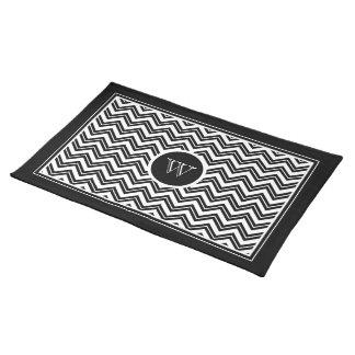 Monogramed Black & White Zigzag Chevron Pattern 2 Placemat