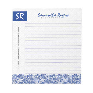 Monogramed Blue Floral Lace & White Damasks 2a Notepad