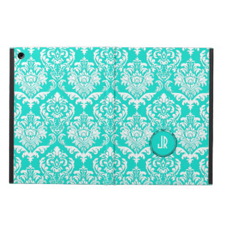 Monogramed Blue-Green And White Floral Damasks Cover For iPad Air