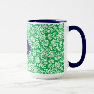 Monogramed Bright Green & White Floral Damasks 3 Mug