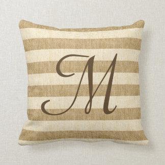 Monogramed Burlap Stripes Cushion