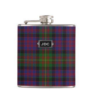 Monogramed Clan Carnegie Tartan Plaid Flask