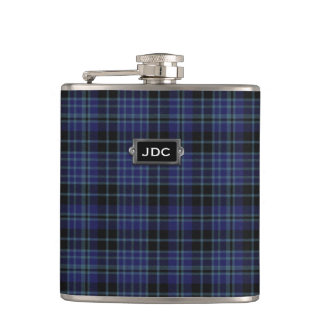 Monogramed Clan Clark Tartan Plaid Flask