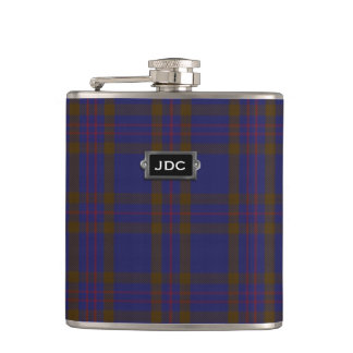 Monogramed Clan Elliot Tartan Plaid Flask