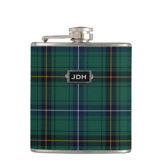 Monogramed Clan Henderson Tartan Plaid Flask
