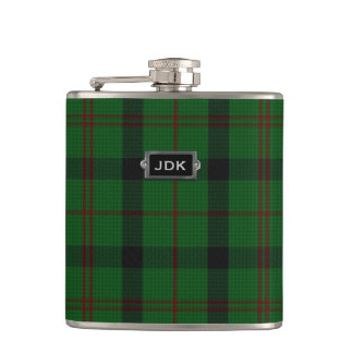 Monogramed Clan Kincaid Tartan Plaid Flask