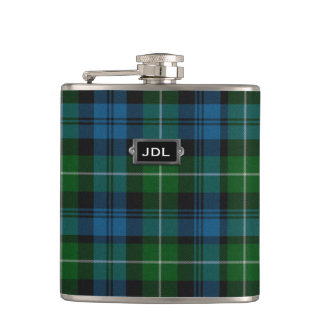 Monogramed Clan Lamont Tartan Plaid Flask