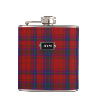 Monogramed Clan MacDougall Tartan Plaid Flask