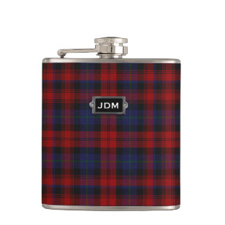 Monogramed Clan MacLachlan Tartan Plaid Flask