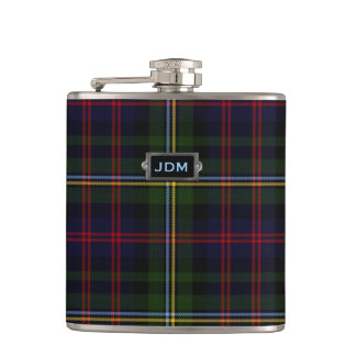 Monogramed Clan Malcolm Tartan Plaid Flask