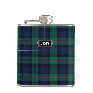 Monogramed Clan Robertson Tartan Plaid Flask
