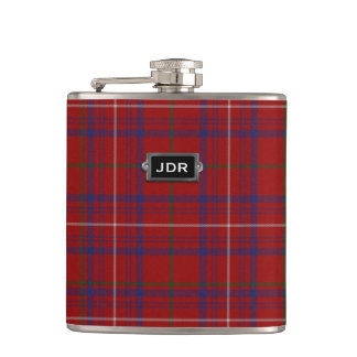 Monogramed Clan Rose Tartan Plaid Flask