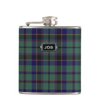Monogramed Clan Stephenson Tartan Plaid Flask