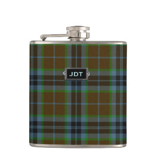 Monogramed Clan Thomson Tartan Plaid Flask