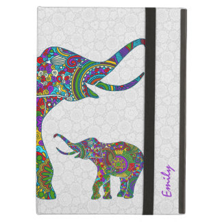 Monogramed Colorful Retro Flower Elephant 3c Cover For iPad Air
