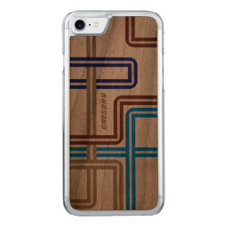 Monogramed Colorful Retro Geometric Lines 2 Carved iPhone 8/7 Case