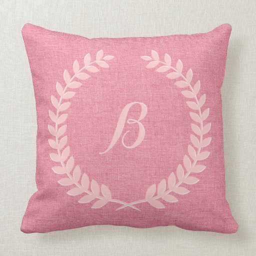 Monogramed Coral Red Linen And Pink Wreath Throw Pillows