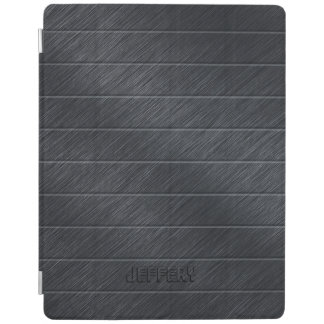 Monogramed Dark Gray Carbon Fiber Metallic Texture iPad Cover