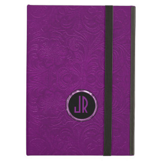 Monogramed Deep Purple Suede Leather Floral Design iPad Air Case