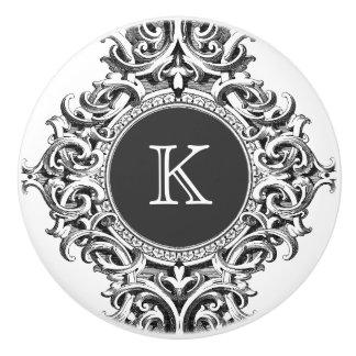 Monogramed Elegant Gray Floral Ornament Ceramic Knob